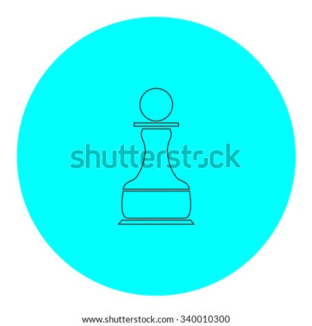 Chess Pawn. Black outline flat symbol on blue circle. Simple illustration pictograh on white background - stock photo