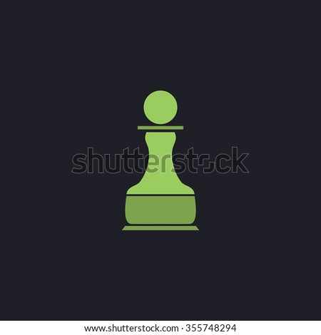 Chess Pawn. Color flat icon on black background - stock photo