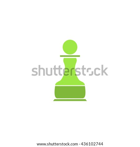Chess Pawn. Color simple flat icon on white background - stock photo