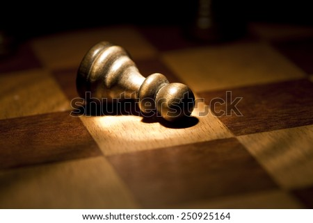 Chess pawn defeated / Chess - stock photo