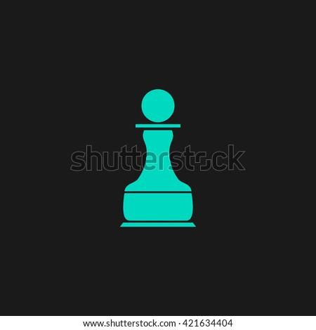 Chess Pawn Flat icon on black background. Simple symbol - stock photo