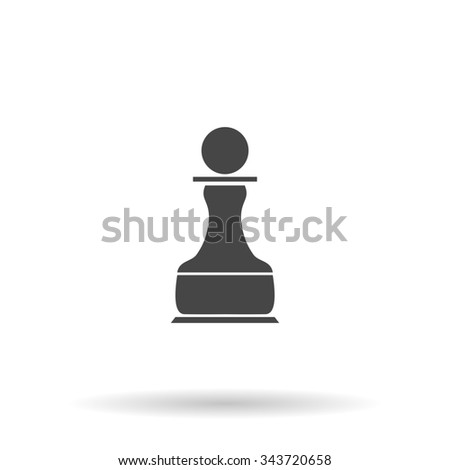 Chess Pawn. Flat icon on grey background with shadow - stock photo