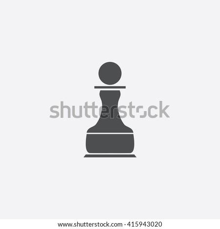 Chess Pawn Flat icon on white background. - stock photo