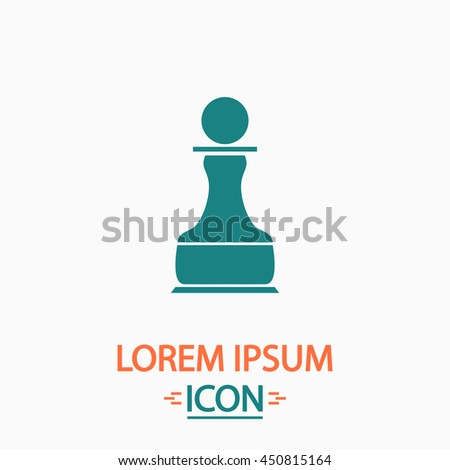Chess Pawn. Flat icon on white background. Simple illustration - stock photo