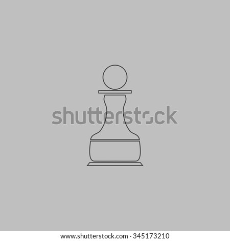 Chess Pawn. Flat outline icon on grey background - stock photo