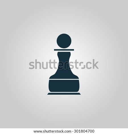 Chess Pawn. Flat web icon or sign isolated on grey background. Collection modern trend concept design style  illustration symbol - stock photo