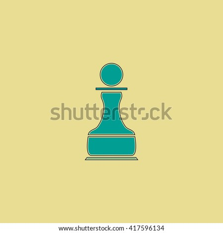 Chess Pawn. Grren simple flat symbol with black stroke over yellow background - stock photo