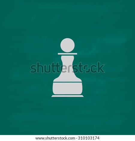 Chess Pawn.  Icon. Imitation draw with white chalk on green chalkboard. Flat Pictogram and School board background. Illustration symbol - stock photo