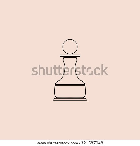 Chess Pawn. Outline icon. Simple flat pictogram on pink background - stock photo