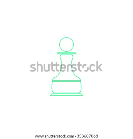 Chess Pawn. Outline symbol on white background. Simple line icon - stock photo