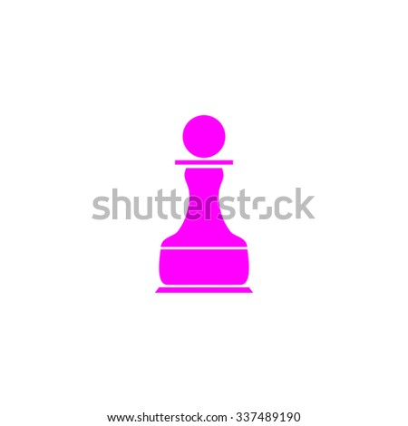 Chess Pawn. Pink icon on white background. Flat pictograph - stock photo
