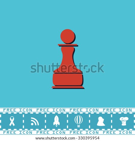 Chess Pawn. Red flat symbol with dark shadow and bonus icon. Simple illustration pictogram on blue background - stock photo