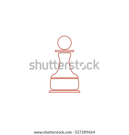 Chess Pawn. Red outline illustration pictogram on white background. Flat simple icon - stock photo
