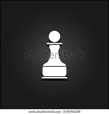 Chess Pawn. White flat simple icon illustration with shadow on a black background. Symbol for web and mobile applications for use as logo, pictogram, icon, infographic element - stock photo