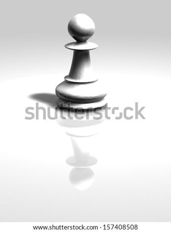 Chess pawn white isolated illustration. - stock photo