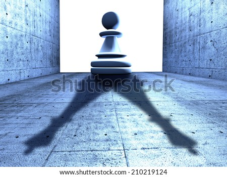 chess pawn with the shadow of a king -conceptual image symbol of strategy and success - stock photo