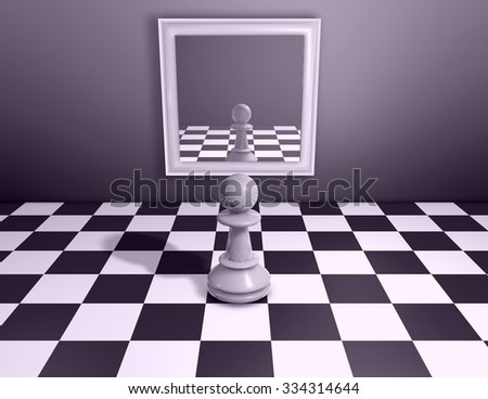 Chess piece looking in mirror. Render abstract illustration.