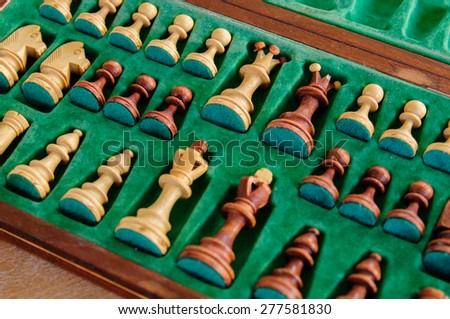 Chess pieces in chess board  - stock photo