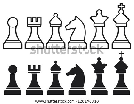 chess pieces including king, queen, rook, pawn, knight, and bishop (chess icons, set of chess pieces, chess figures) - stock photo
