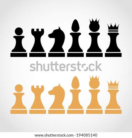 Chess Pieces Including King Queen Rook Pawn Knight Bishop Icons, raster set of chess pieces, chess figures - stock photo