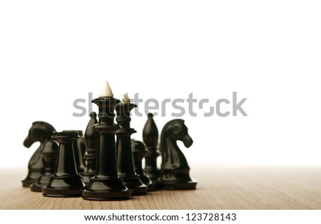 chess pieces isolated on board