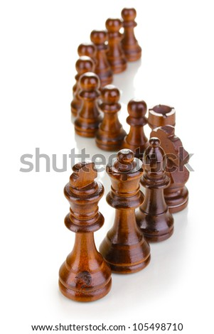 Chess pieces isolated on white - stock photo