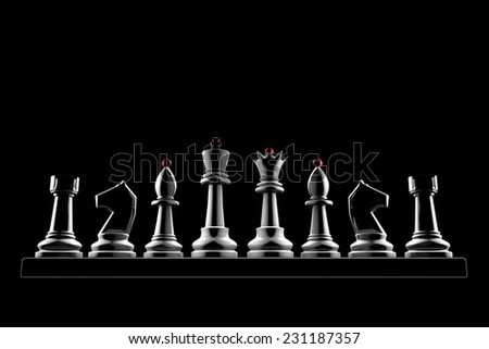 Chess pieces on a black background (3d image of a graphic style).