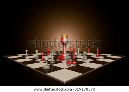 Chess pieces on a dark background art. In the center of a huge two-tone frame a pawn with a crown. - stock photo