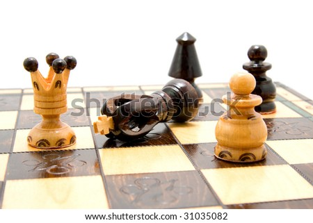 chess pieces on chess-board isolated on white background