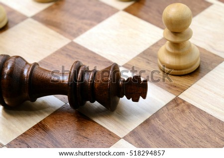 Chess pieces on chess board with king chekmate