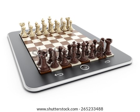 Chess pieces on tablet computer isolated on white background