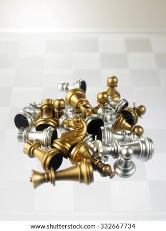 chess pieces on the glass chess board - stock photo