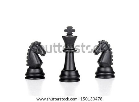 chess pieces on white - stock photo
