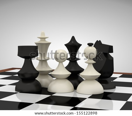 Chess pieces: rook, king, pawn, queen, bishop and knight on chessboard. 3d rendering. - stock photo