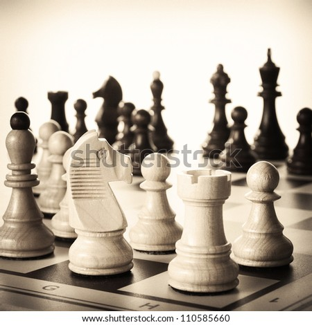 Chess pieces  visible. Retro outlook given. Some noise added - stock photo