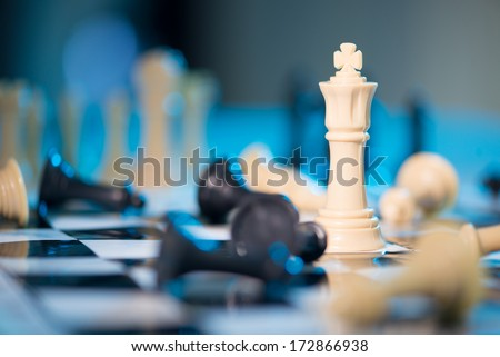 Chess queen among taken pieces - stock photo