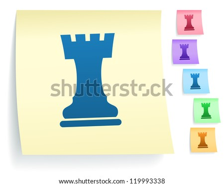 Chess Rook Icon on Post It Note Paper Collection Original Illustration - stock photo