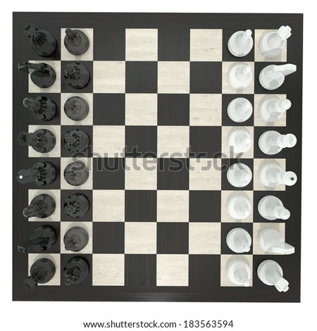 chess set with arranged figures isolated on white, top view - stock photo