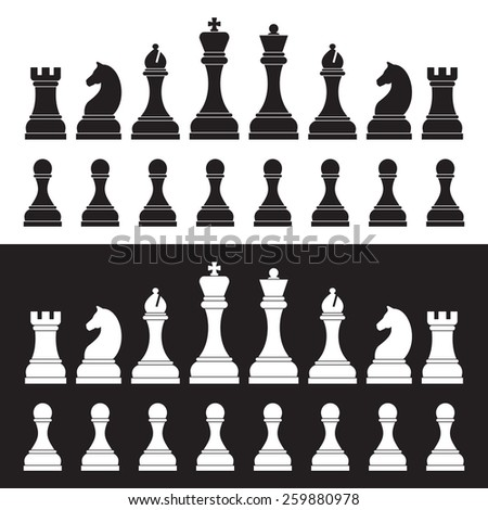 Chess silhouettes on white and black background. - stock photo