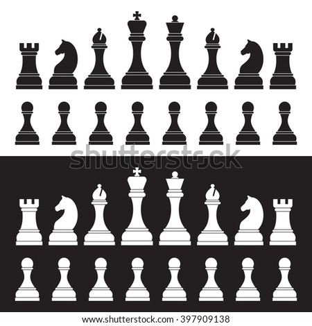 Chess silhouettes on white and black background.