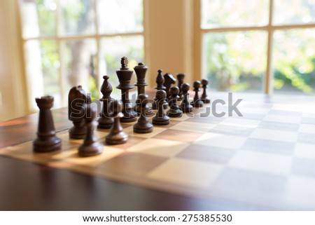 Chess table by the window