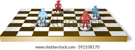 Chess table with separated family figures