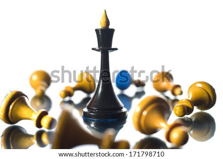 Chess the queen wins victory - stock photo