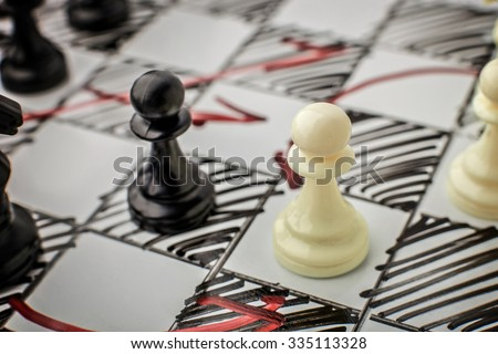 Chess. White and Black pawn facing each other on a white board. Pawns, infantry chess. - stock photo