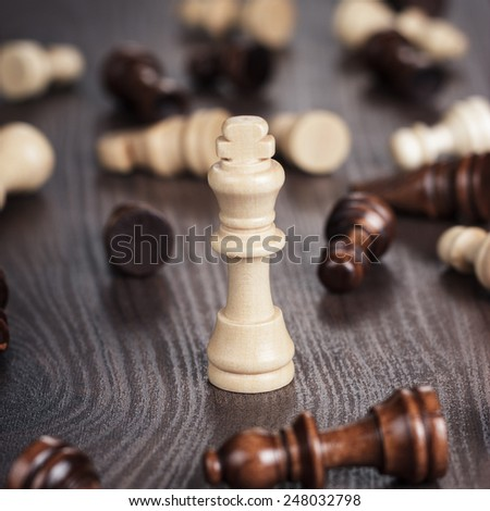 chess win concept on wooden background - stock photo