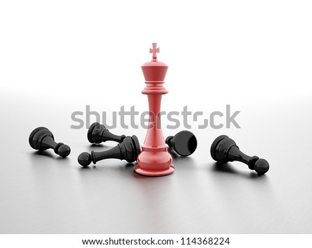 Chess winner red and black rendered - stock photo