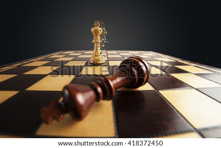 Chess: winner scatters the pixels and loser