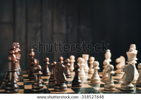 chessboard in the middle of the game chess - stock photo