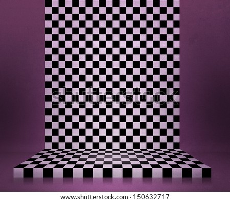 Chessboard Stage Violet Room Background