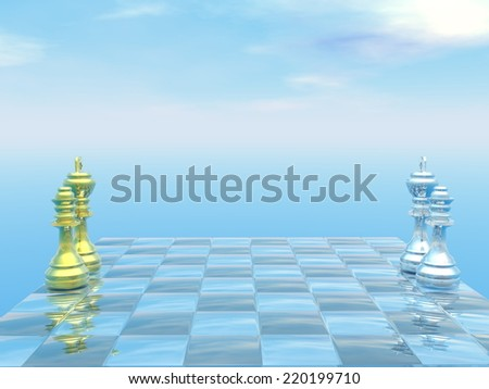 Chessboard with kings and queens and blue sky - 3D render - stock photo